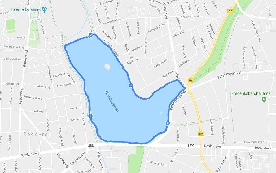 rute rundt om damhussøen