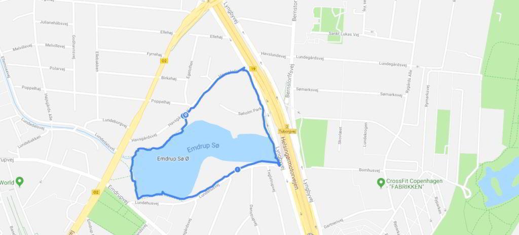 Oversigt over min gåtur Emdrup sø rundt