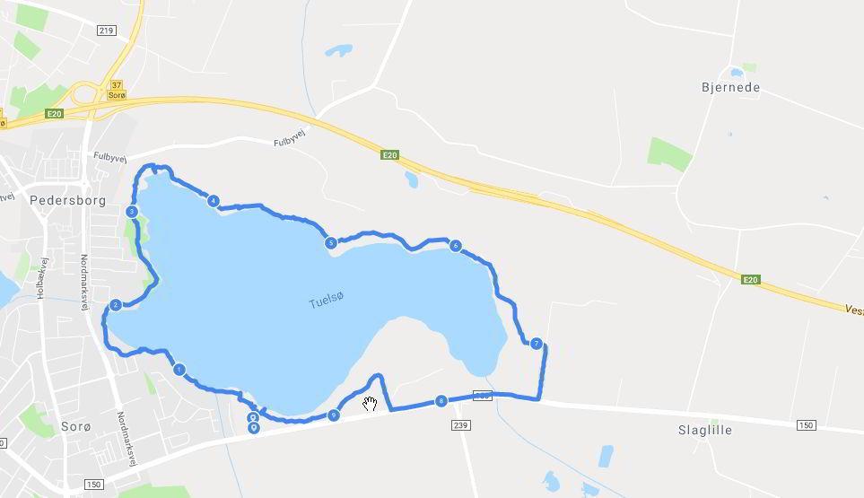 rute rundt om tuelsø